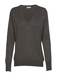 Silk Mix V-Neck Sweater - MINERAL GR