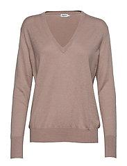 Silk Mix V-Neck Sweater - POWDER