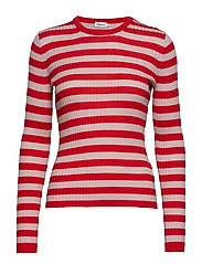 Striped R-neck - BERRY RED/