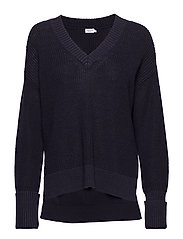 Cotton Linen V-Neck Sweater - NAVY