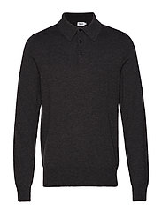 M. Knitted Polo Shirt - DK. GREY M