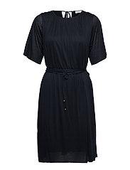 Gathered Tie Waist Dress - NAVY