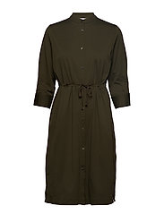 Seer-sucker Shirt Dress - OLIVE DRAB