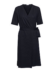 Linen Wrap Dress - NAVY