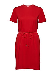 Crew Neck T-shirt dress - BERRY RED