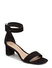 Frances Mid Heel Sandal - BLACK SUED