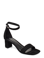 Belinda Mid Heel Sandal - BLACK SUED