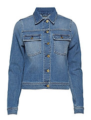 Suzy Washed Denim Jacket - MID BLUE