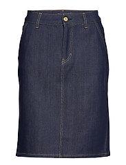 Alicia Raw Denim Skirt - DARK BLUE