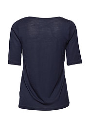 Tencel Scoop-neck Tee - NAVY