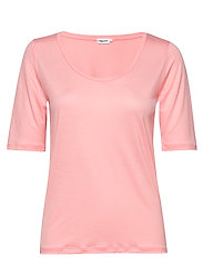 Tencel Scoop-neck Tee - TAFFY PINK