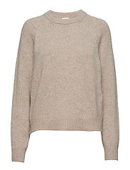 Soft R-Neck Sweater - BEIGE MELA