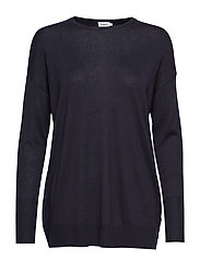 Silky Fine Knit Sweater - NAVY