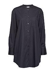 Poplin Shirt Dress - NAVY