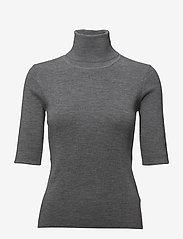 Filippa K - Merino Elbow Sleeve Top - turtlenecks - mid grey m - 0