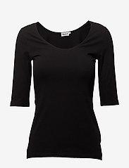 Filippa K - Cotton Stretch Scoop Neck Top - t-shirts - black - 0