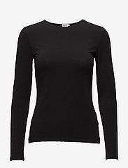 Filippa K - Cotton Stretch Long Sleeve - langærmede toppe - black - 0