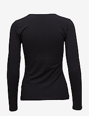 Filippa K - Cotton Stretch Long Sleeve - langærmede toppe - black - 1