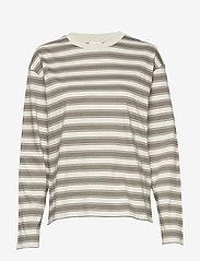 Filippa K - Linnett Top - stribede t-shirts - green grey - 0