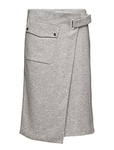 Wrap Pocket Wool Skirt - LIGHT GREY