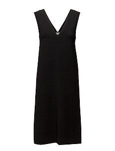 Cutout V-neck Dress - BLACK