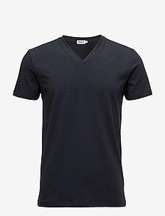 M. Lycra V-Neck Tee - kortærmede t-shirts - navy
