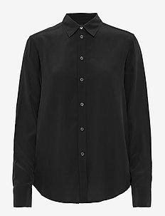 Classic Silk Shirt - langermede skjorter - black