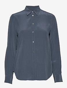 Classic Silk Shirt - langærmede skjorter - blue grey