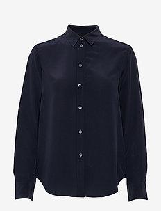 Classic Silk Shirt - langærmede skjorter - navy