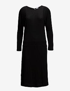 Drapey Tencel Split Dress - skjortekjoler - black
