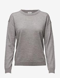 Merino R-neck Pullover - LIGHT GREY