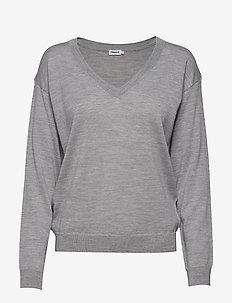 Merino V-Neck Pullover - LIGHT GREY