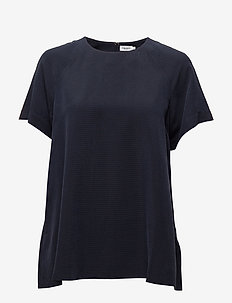 Trapeze Tunic - short-sleeved blouses - navy