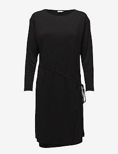 Drawstring Wrap Jersey Dress - slå-om-kjoler - black