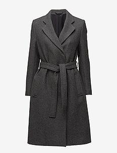 Eden Belted Coat - wełniane płaszcze - grey mel.