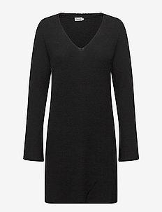 Ribbed Wool Mix Tunic - BLACK