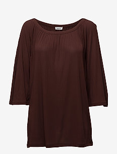 Gathered Scoop Neck Blouse - tunieken - fig