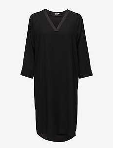 V-Neck Tunic Dress - BLACK