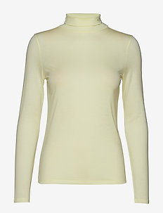Tencel Polo Neck Top - PALE LIME