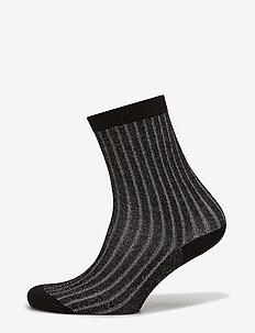 Lurex Rib Sock - BLACK