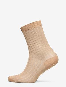 Lurex Rib Sock - TOFFEE BEI