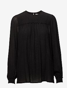 Crinkle Blouse - langærmede bluser - black