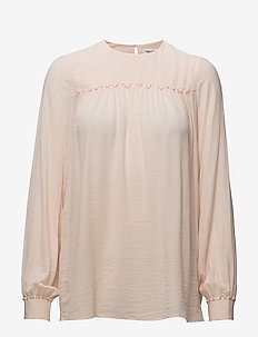 Crinkle Blouse - long sleeved blouses - champagne