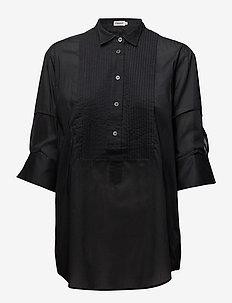 Pintuck Tuxedo Shirt - langærmede skjorter - black