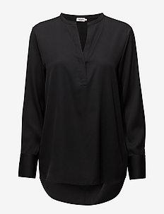 Pull-on Silk Blouse - long sleeved blouses - black
