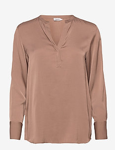 Pull-on Silk Blouse - langermede bluser - grey taupe