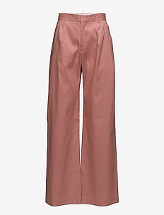 Katie Pleated Trousers - wide leg trousers - salmon