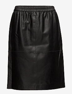 Agnes Leather Skirt - BLACK
