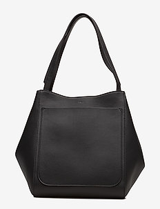 Shelby Bucket Leather Bag - bucket-väskor - black