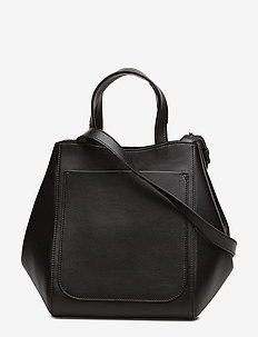 Shelby Mini Bucket Leather Bag - top handle - black